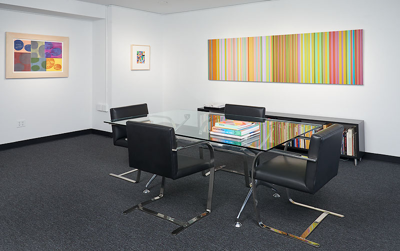 a table in the office of art consultant, Scott Richards